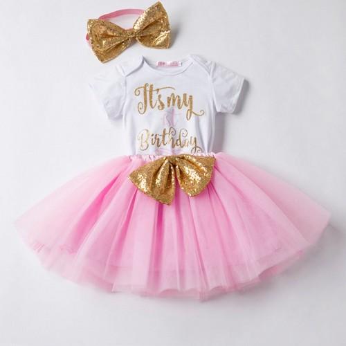 NewBorn Baby Hot Pink Dots Lace Chiffon Romper Jumpsuit Headband 2PCS Set NB-3Y