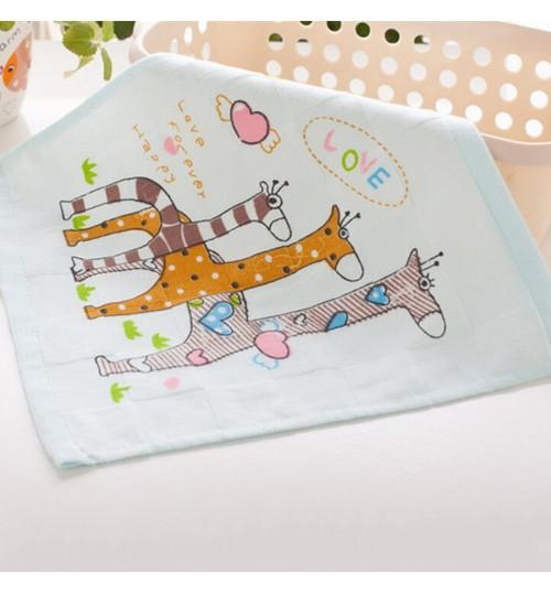 FACTORY - Animals Handkerchiefs Baby Towel Kids Nursing Feeding Towel Cute Cartoon Print Baby Washcloth Cheap Blue